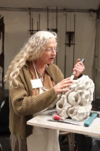 Pacific Northwest Sculptors member Carole Murphy at Art in the Pearl 2018